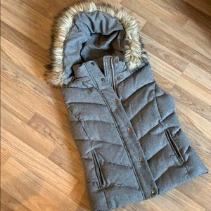 Gap Puffer Vest with faux fur lined hood